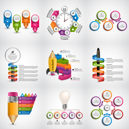 analisys: Big collection of colorful infographics. Design elements. Infographics for business presentations or information banner.