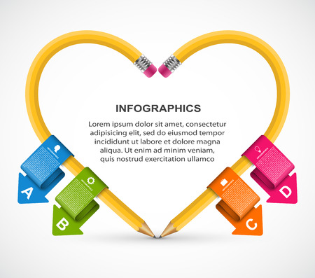 Educational Infographics template with pencil. Infographics for business presentations or information . Illustration