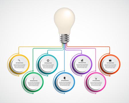 idea lamp: Infographic design organization chart template. illustration.