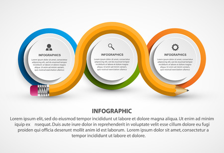 infochart: Infographics template with pencil. Infographics for business presentations or information banner.