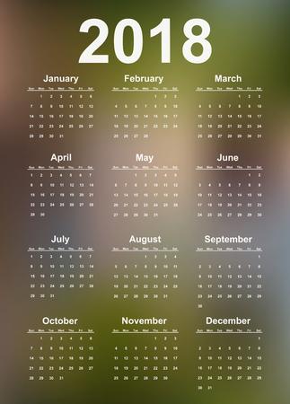 Vector simple calendar 2018 year. Illustration