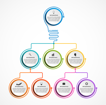 Infographic design organization chart template for business presentations, information banner, timeline or web design. Vettoriali