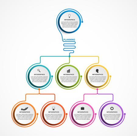 Infographic design organization chart template for business presentations, information banner, timeline or web design. Illustration