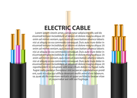 Electric cable background. Broken power cable. Stranded copper cable in double insulation. Vector realistic illustration. Illustration