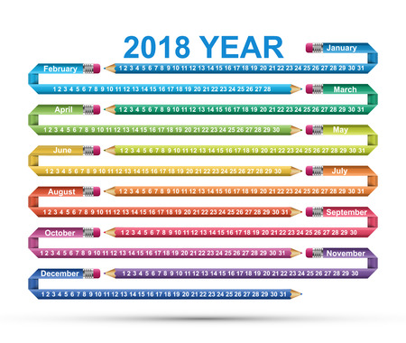 Simple calendar 2018 year in the form of a curved pencil for business and study.