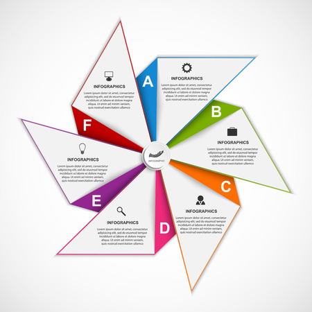 Abstract options infographics design template in the shape of air pinwheel. Vector Illustration. Vectores