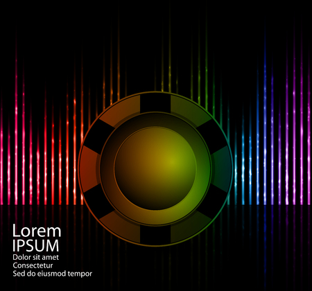 Disco club speaker on a abstract colorful luminous lines. For nightclub poster or background. Vector illustration. Illustration