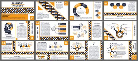 Modelli di presentazione aziendale con elementi moderni di infografica.