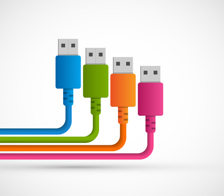 Usb plugs with cord on white background. Vector illustration. Illustration