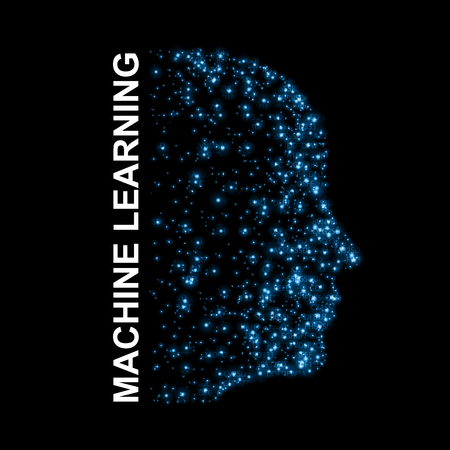 Machine learning. Artificial Intelligence. Technological background with a human face from glowing bits.