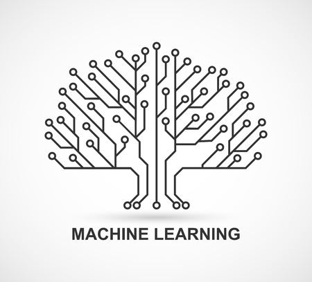 Aprendizaje automático. Inteligencia artificial. Fondo tecnológico con una placa de circuito impreso.