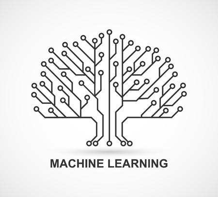 Maschinelles Lernen. Künstliche Intelligenz. Technologischer Hintergrund mit einer Leiterplatte.