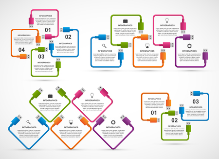 Collection infographics. Design elements. USB cable. Infographics for business presentations or information banner.