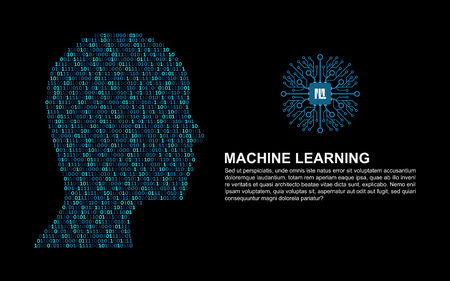 Machine learning. Artificial Intelligence. Technology background with a person's head consisting of bits and code programs.