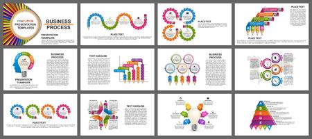 Plantillas de presentación de negocios. Elementos modernos de la infografía. Se puede utilizar para presentaciones de negocios, folletos, pancartas informativas y diseño de portadas de folletos.