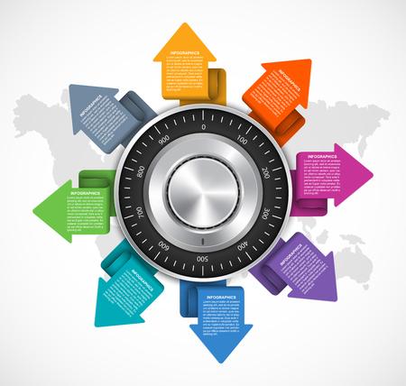 Infographic design template. Protection information. Combination safe lock design concept. Illustration