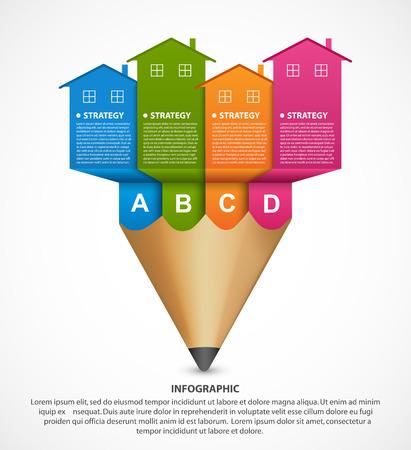 Infografiken mit bunten Häusern. Für die Präsentations- oder Werbebroschüren. Vektorillustration. Vektorgrafik