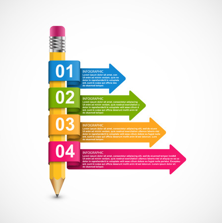 Infographics template. Pencil with colored arrows. Infographics for business presentations or information banner.