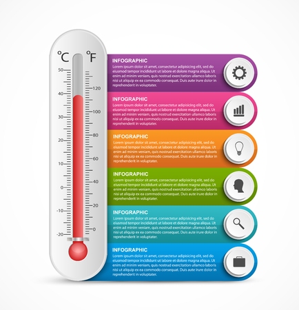 Infographics thermometer design template.