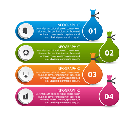 Abstract business options infographics template in the form of bag of money. Иллюстрация