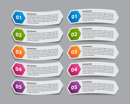 Infographic with paper stickers for business presentations or information banner.