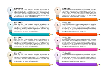 Infographics template with pencil. Can be used for education or business presentations, information banner. Illustration