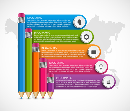 Infographics template with pencil. Can be used for education or business presentations, information banner. Ilustracja