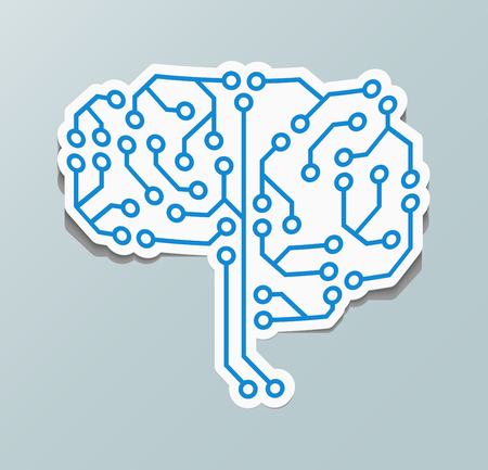 Paper sticker with the image of the human brain. Brain icon!