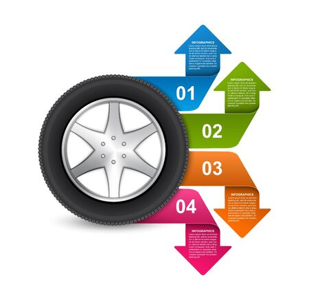 Infographic Design Template. Tire with arrows for brochures and presentations. Vector illustration.
