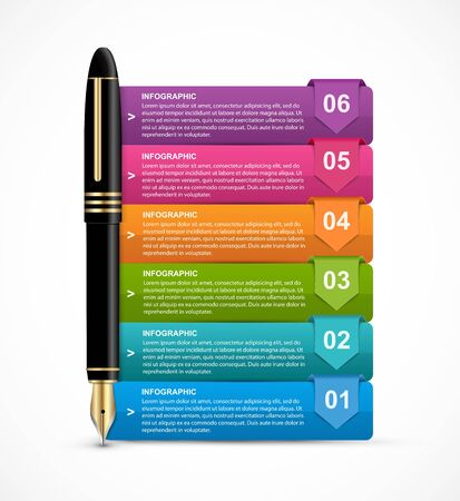 Infographics with ink pen. Vector illustration. Infographics for business presentations or information banner.
