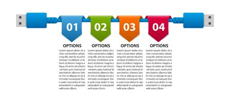 Abstract options infographics template. USB cable. Infographics for business presentations or information banner.