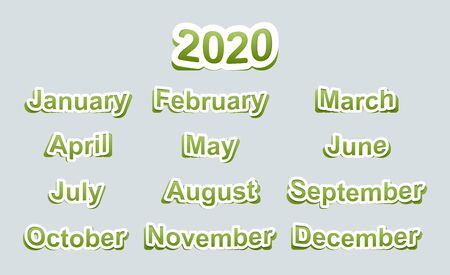 Paper stickers in green with the names of the months and the text 2020. For Christmas cards, calendars, backgrounds and other designs.
