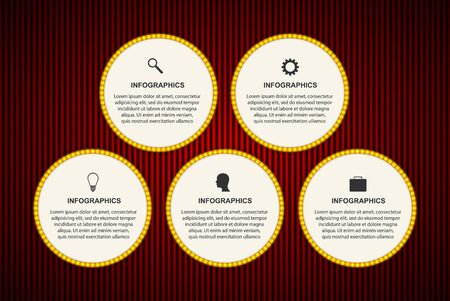 Abstract options infographics template. Infographic with luminous bulbs in the style of the new year.