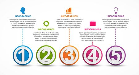 Infographics template with numbers option for business presentations.