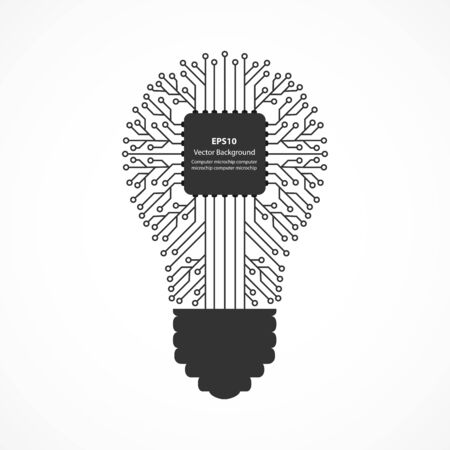 Vector flat icon of a light bulb with a computer chip inside.
