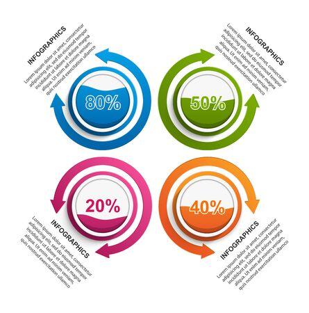 Infographic design organization chart template for business presentations, information banner, timeline or web design. Stock Illustratie