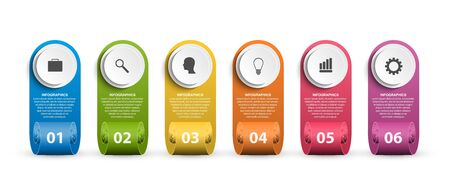 Infographics template with ribbons. Infographics for business presentations or information banner. Stock Illustratie