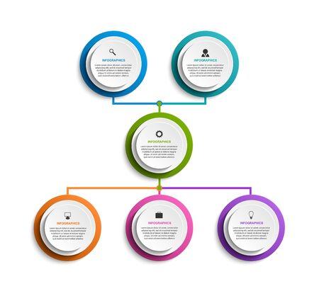Infographic design organization chart template. Stock Illustratie