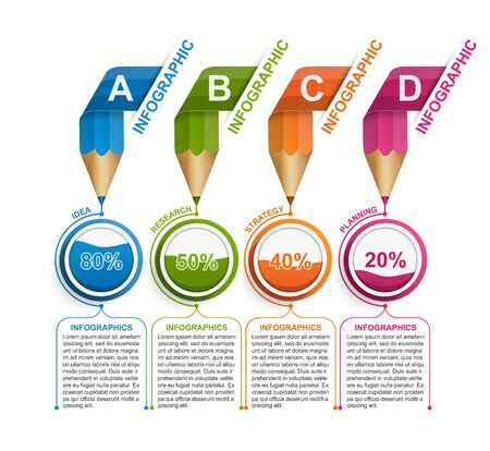 Infographics template with pencil for education or business presentations, information banner. Stock Illustratie