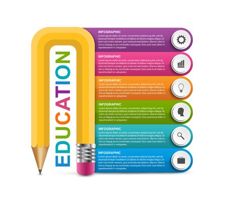 Infographics template with pencil. Can be used for education or business presentations, information banner. Stock Illustratie