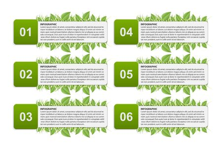 Infographic with green leaves. Vector illustration