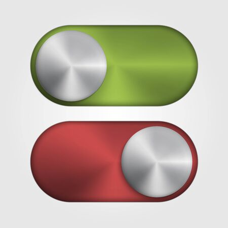 3d Metal switch for applications and site. Red and green color. Vector illustration