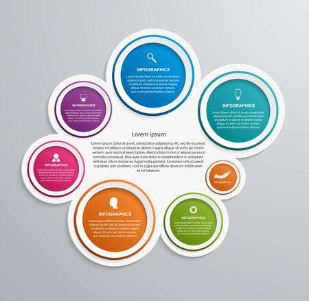 Infografiken-Vorlage für abstrakte Optionen. Infografiken für Geschäftspräsentationen oder Informationsbanner.