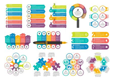 Bundle infographic elements in flat style for business presentations and brochures.