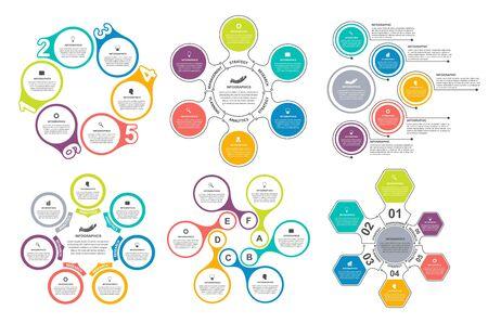 Raggruppa elementi infografici in stile piatto per presentazioni aziendali e brochure.