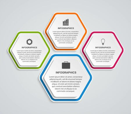 Hexagon options infographics template. Infographics for business presentations or information banner. Stock Illustratie
