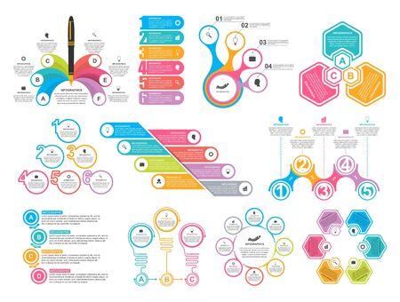 Regroupez les éléments infographiques dans un style plat pour les présentations commerciales et les brochures.