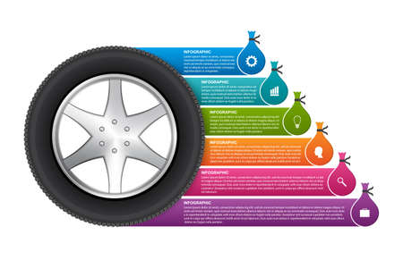 Infographic Design Template. Tire with stickers for brochures and presentations. Vector illustration.
