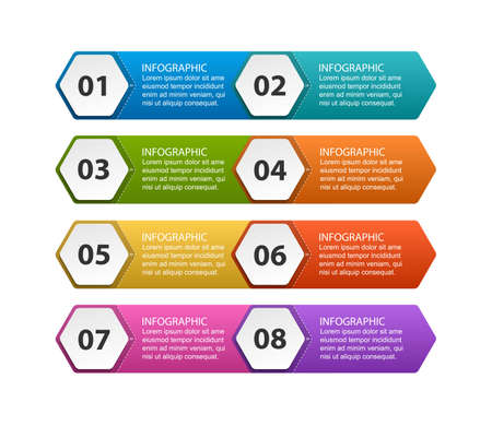 Hexagon options infographics template. Infographics for business presentations or information banner. Illustration