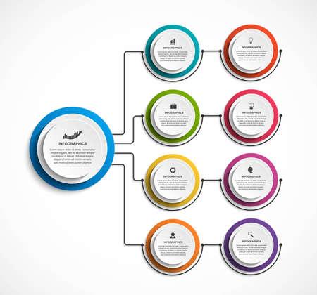 Infographic design organization chart template. 벡터 (일러스트)